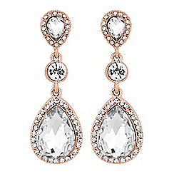 Mood - Rose gold crystal peardrop earrings