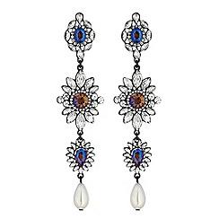 Mood - Ornate crystal drop earrings