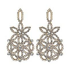Mood - Gold floral diamante earrings