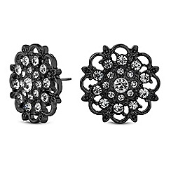 Mood - Black floral stud earrings