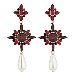 Mood - Red crystal and pearl statement drop earrings