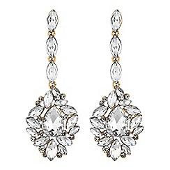 Mood - Gold ornate crystal drop earrings