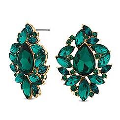 Mood - Green crystal ornate stud earrings