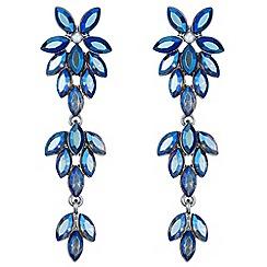 Mood - Blue crystal floral drop earrings
