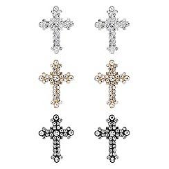Mood - Multi tone crystal cross earrings set
