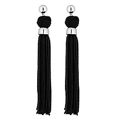 Mood - Jet oversized tassel earrings