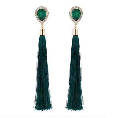Mood Green crystal tassel drop earrings   Debenhams
