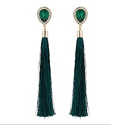 Mood - Green crystal tassel drop earrings