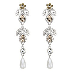 Mood - Crystal floral drop earrings
