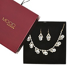 Mood - Slanted crystal teardrop necklace and earring set
