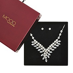 Mood - Large navette stone drop necklace and earring set