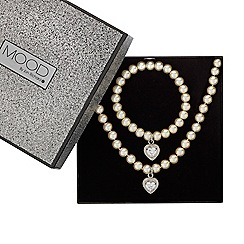 Mood - Online exclusive great value pearl and heart droplet jewellery set