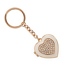 Mood - Rose gold crystal and cream enamel heart keyring