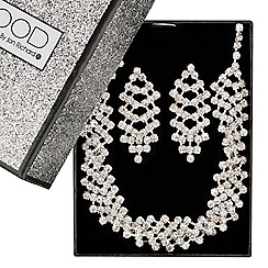 Mood - Diamante crystal twist necklace and earring set