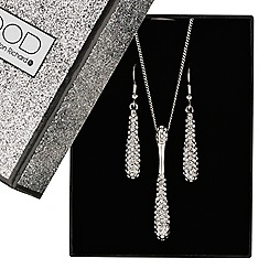 Mood - Elongated crystal teardrop jewellery set
