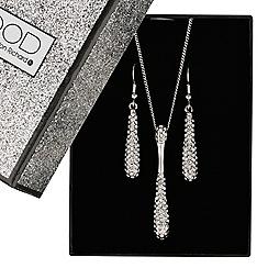 Mood - Elongated crystal teardrop jewellery set