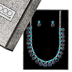 Mood - Diamante blue stone drop jewellery set