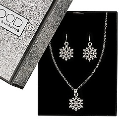 Mood - Mini snowflake drop necklace and earring set