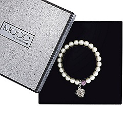 Mood - Cream pearl and floral charm stretch bracelet