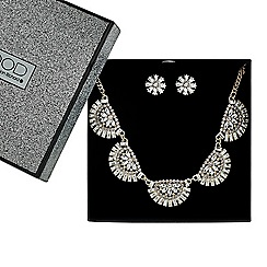 Mood - Embellished curved fan drop necklace and earring set