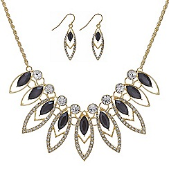 Mood - Gold crystal navette necklace and matching earring set