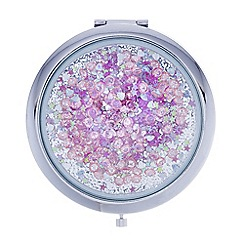 Mood - Pink hearts and stars compact mirror
