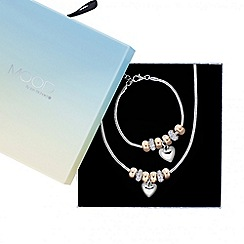 Mood - Heart charm stacker bracelet and necklace set