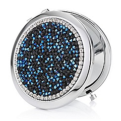 Mood - Black and blue crystal cluster compact mirror