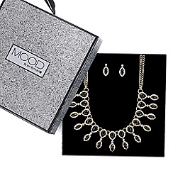 Mood - Black crystal drop fan necklace and earring set