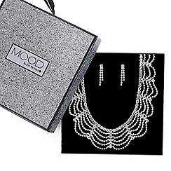 Mood - Silver diamante loop necklace and earring set