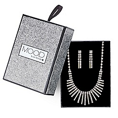 Mood - Gold crystal stick fan necklace and earring set
