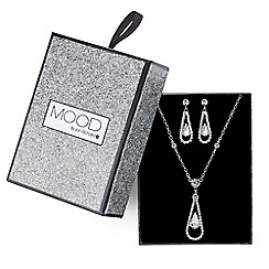 Mood - Silver crystal teardrop necklace and earring set