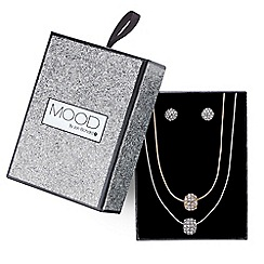 Mood - Double row pave ball necklace and earring set