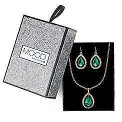 Mood - Green crystal teardrop pave necklace and earring set