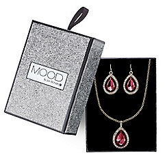 Mood - Red crystal teardrop pave necklace and earring set