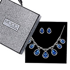 Mood - Blue crystal teardrop loop necklace and earring set