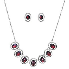 Mood - Red oval crystal necklace and earring set