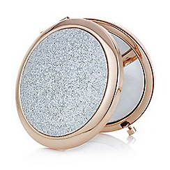 Mood - Rose gold and silver glitter compact mirror