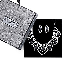 Mood - Monochrome diamante crystal loop necklace and earring set