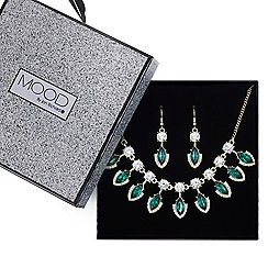 Mood - Green navette crystal droplet necklace and earring set