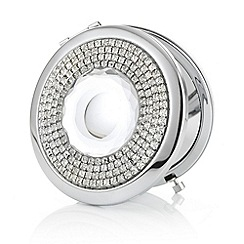 Mood - Silver crystal centre compact mirror