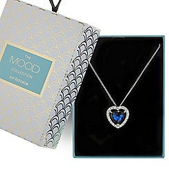 Mood - Blue crystal heart pendant necklace