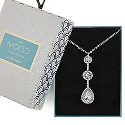 Mood - Silver crystal peardrop necklace