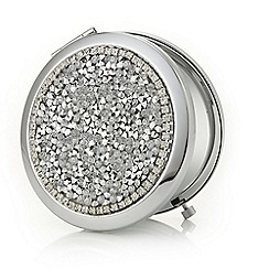 Mood - Silver crystal cluster compact mirror