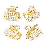 Set of four mini pearl and crystal gold clips