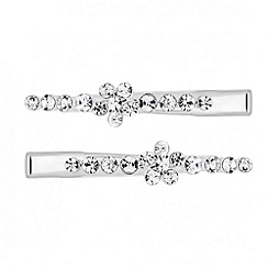 Mood - Set of two floral crystal embellished hair clips