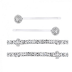 Mood - Set of four diamante and round stone hair clips