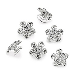Mood - Set of six diamante flower twisted hair clips