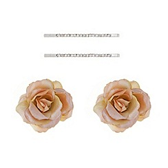 Mood - Set of four silk flowers and diamante hair slides