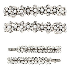 Mood - Pearl and diamante hair barrette and slide set